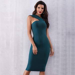 Image 2 - 2020 Summer Elegant Party Bodycon Bandage Dress Women Green Sleeveless One Shoulder Sexy Night Club Female Vestidos Clothing