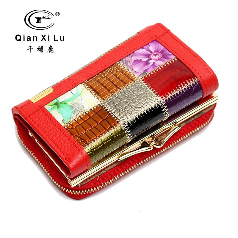 все цены на Qianxilu Brand Fashion Ladies Geometric Purse Coin Wallet carte porte monnaie femme carteira de couro онлайн