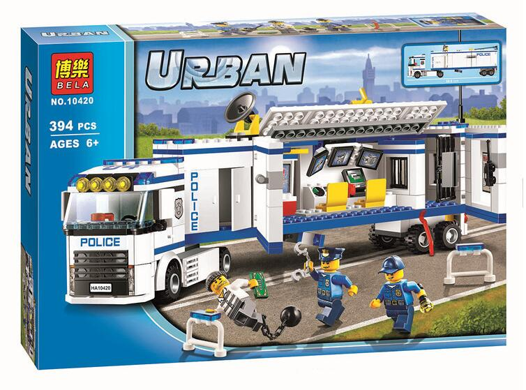 394pcs 2016 10420 City Police Fluidity Police Station Building Blocks Assembled Kids Toys Compatible With Lepin 60044 B7
