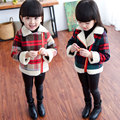 Mamimore Children Wool Coat For Girls Winter New Fashion Fur Coat Plaid Zipper Jacket Thick Warm Kids Clothing Cotton Woolen Hot
