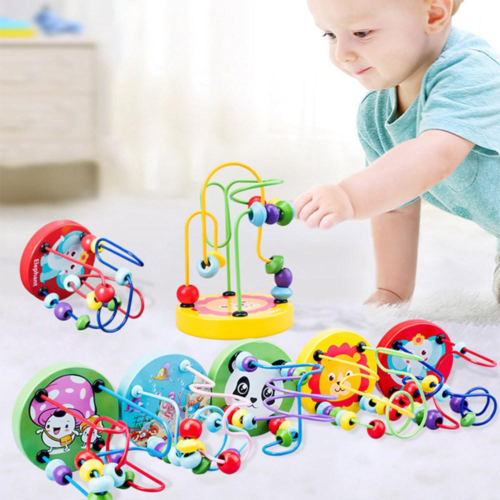 Girls Arts Kids Crafts Toddler Toys Montessori Wooden Toys Circles Bead Wire Maze  Puzzles Loom Kindergarten Toys For Children