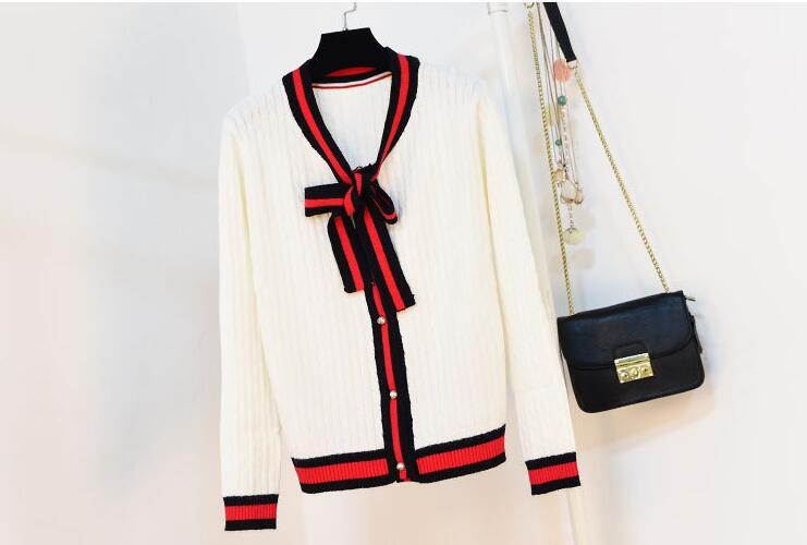 2017winter Women Bowtie Pure White/black/red Color Sweater Fashion Loose And Soft Strong Packing