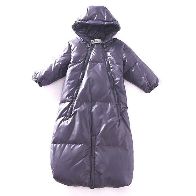 Высокое качество младенец вниз заполнения ребенка сна одежда снег износ, С длинными рукавами с капюшоном зимнее пальто, Русский новорожденных теплые комбинезон спальный мешок зима