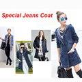 2016 nova longo casacos para mulheres Plus Size jaqueta jeans de manga comprida Hoodies de moda de nova Denim casacos jaqueta jeans