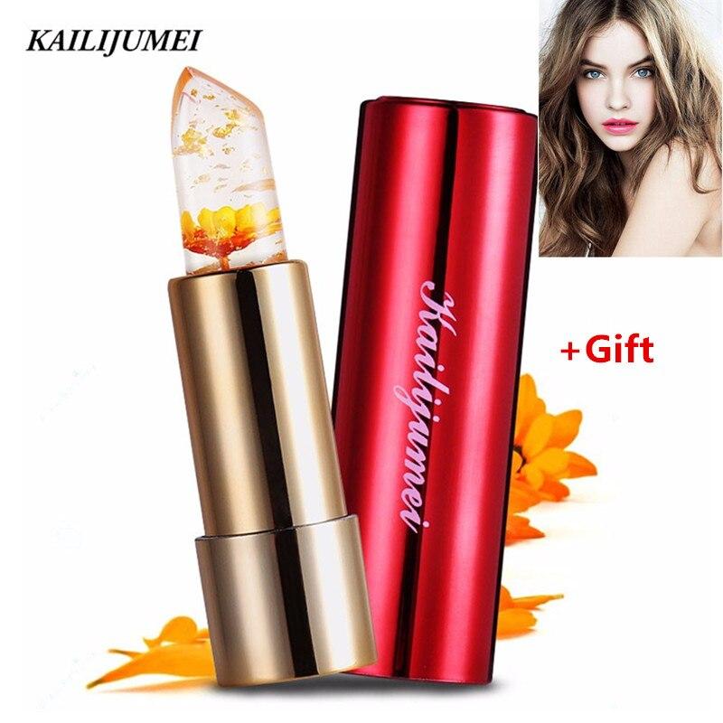 Marca Kailijumei Flor Geléia Magia Mudança de Cor Temperatura Batom Lip Gloss Hidratante Flor Lip balm maquiagem Batom