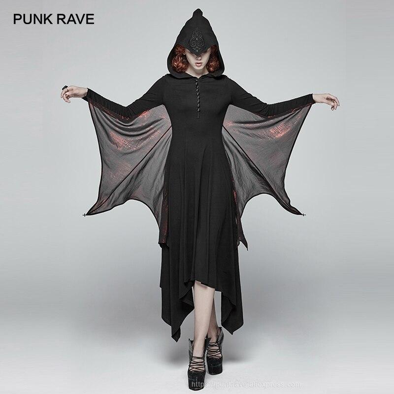 PUNK RAVE femmes gothique manches chauve-souris Sexy robe Punk fête longue robe de mode Cospaly sorcière à capuche cheville longueur Performance robe