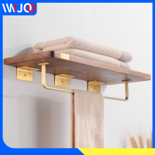 цены Bathroom Shelf Towel Holder Wood Brass Bathroom Shelves Shower Storage Single Towel Bar Wall Mounted Towel Rack Hanging Holder