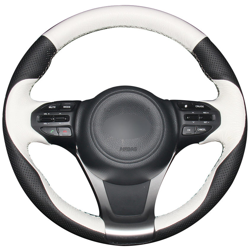 Black Natural Leather White Natural Leather Car Steering Wheel Cover for Kia K5 Optima 2014 2015