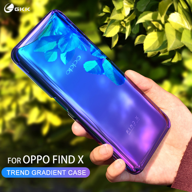 GKK Plating Case Oppo Find X Case Gradient Plating Transparent Magnetic Anti-shock Hard PC Thin Back Cover for Oppo Find X Coque