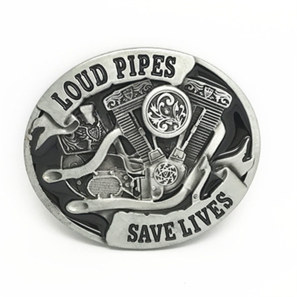 LOUD PIPES SAVE LIVES Cowboy Personality Belt Buckle For 4.0 Belt Buckle