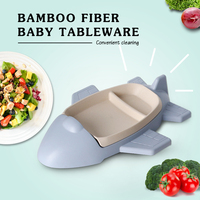 GZZT Kids Tableware Sets Dishes Bamboo Fiber Blue Cartoon Aircraft Shape Dinnerware Bowl Children Kid Rice Feeding Tray