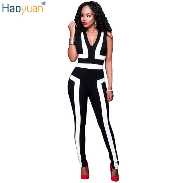Summer Fashion Sexy Elegant Bodycon Jumpsuit Romper Sleeveless Deep V Neck Women Overalls Balck White Stripe Bodysuit Playsuit
