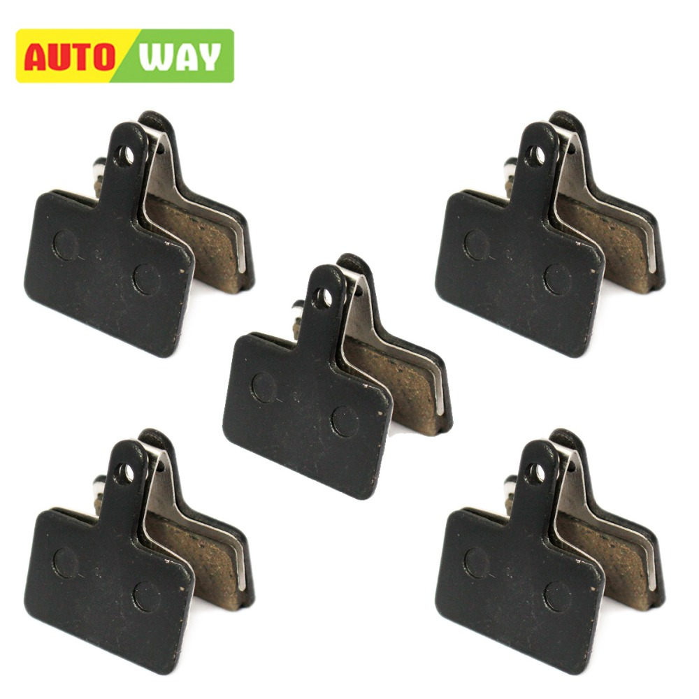 Autoway MTB Bicycle Disc Brake pads for SHIMANO M375 M395 M486 M485 M475 M416 M446 M515 M445 M525 Disc Brake, 5 Pairs/ORD,Black