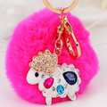2016 Fashion 8cm Cute Genuine Rabbit Fur hair Crystal Big Size Ball Plush Keychain Car Key Chain Ring Bag Pendant For Bag F322