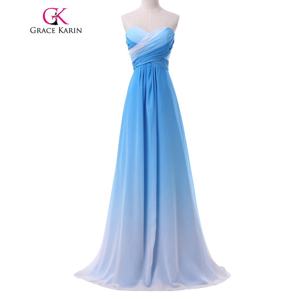Grace Karin Gradient Ombre Special Occasion Dresses Long Evening Dress Blue Pink Green Elegant Chiffon Formal Evening Gowns 2017