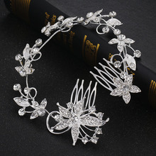 long leaf silver plated high end crystal hair combs bride accessories wholesale