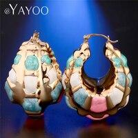 AYAYOO Gold Farbe Große Creolen Blume Aussage Ohrringe Für Frauen Bohemian Boho Geometrische Mode Hochzeit Ohrring