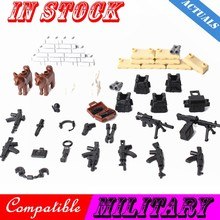Legoing Military City Special Forces Soldiers Figures Guns Weapons Armed SWAT Building Blocks Ww2 Toys Legoinges Military Cities(China)