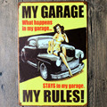 Wall Stickers Home decor My garage stays in my garage my rules Wall Decalsmetal tin Signs Plate Painting Wall Art decoration