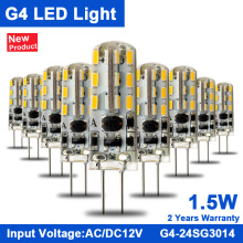 KINDOMLED 10Pcs G4 Led Bulb/Light/Lamps 12 V AC&DC 1.5 W 3W 24leds led light SMD3014 Led Lights For Home Bulb Ultra Bright frete