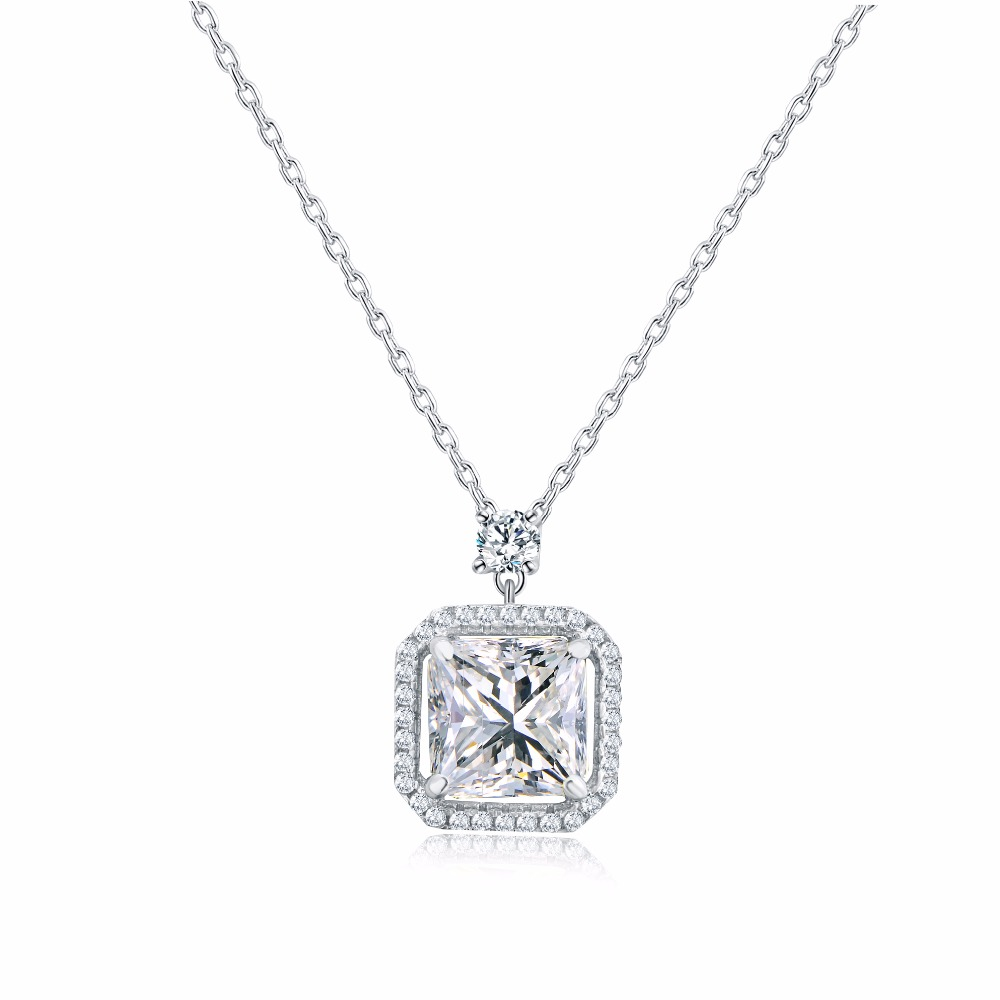 Multi Prongs Synthetic CZ Necklaces Stone Crystal and Arrows Pendant Necklace with 8mm 2ct Cubic Zirconia 925 Sterling Silver