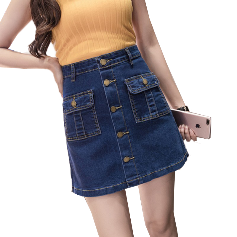 EXOTAO High Waist Single-Breasted Denim Skirt For Women Spring Summer New A Word Mini Saias With Two Pocket Slim Short Skirts