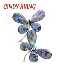 CINDY XIANG New Shell Double Butterfly Brooches for Women Fashion Insect Pin Brooch Spring Style Accessories High Quality 2019