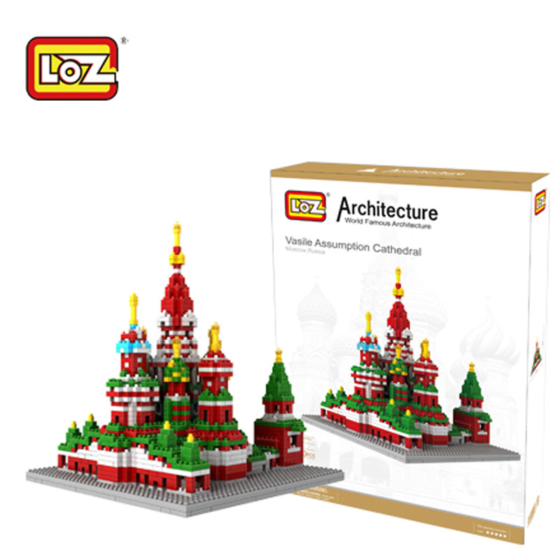 LOZ New Famous Architecture The Saint Basil's Cathedral DIY 3D Model Diamond Building Blocks Children Learning Education Toys 2018 new famous architecture series the french arc de triomphe 3d model building blocks classic toys gift