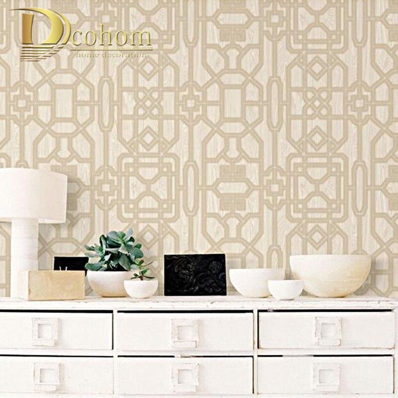 3D Stylish Quartz Trellis Classic Geometric Wallpaper Glitter Heavyweight Vinyl Paper for Wall Decor White Brown Waterproof декор vitra ethereal gold geometric decor soft brown glossy 30x60