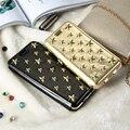 Floveme ouro rebites estrela case para iphone 7 7 plus pu couro titular do cartão carteira cheia tampa flip protetora para iphone 7 7 plus
