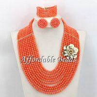 Contas de Coral rosa Conjunto De Jóias de Casamento Moda Africano Coral Beads Atacado Frete Grátis CN113