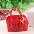 Red Handbag Lady Girl Creative Cute Crystal Charm Purse Handbag Car Key Keyring Keychain Party Wedding Birthday Gift