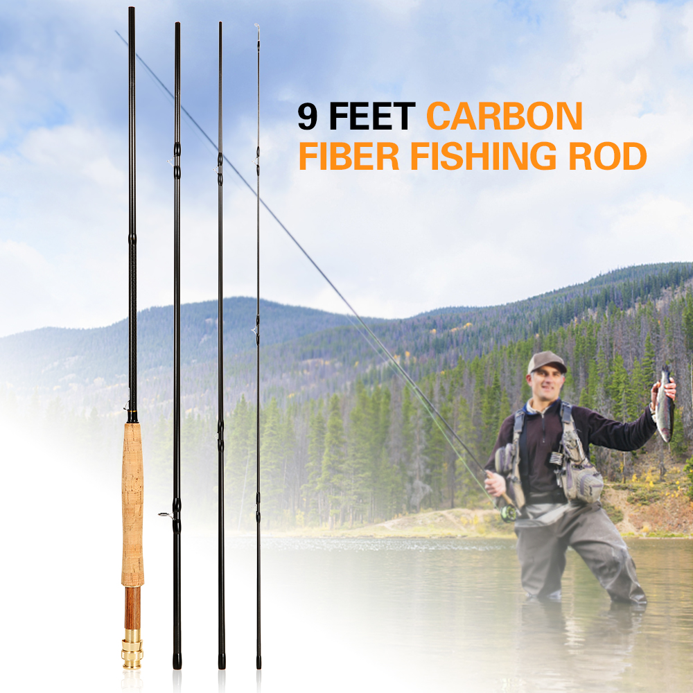 Lixada Portable 9 Feet 2.7M 4 Sections Detachable Carbon Fiber Fly Fishing Rod Pole Fishing Tackle(China)
