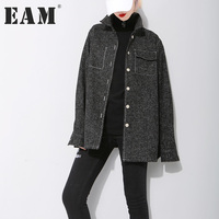 EAM 2018 New Spring Lapel Long Sleve Solid Color Black Single Breasted Loose Jacket Women