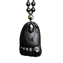 Drop Shipping Natural Black Obsidian Pendant Hand Carved Amulet Contentment Necklace For Men Women With Chain Gift