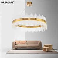 New Arrival LED Pendant Light Crystal Rods Hanging Lamp For Dinning Room Gold Circle Suspension Lamparas
