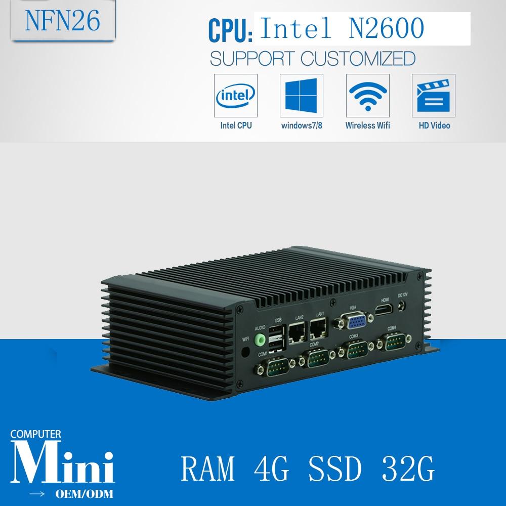 Fanless Mini PC 12V,Mini linux Embeddex pc Atom N2600, Fanless Carputer RAM 4G SSD 32G