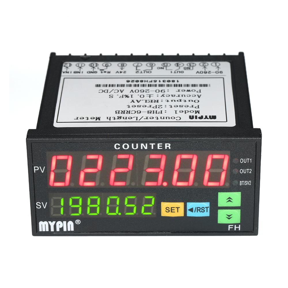 Multi functional Dual LED Display Digital Counter 90 265V AC DC Length Meter with 2 Relay