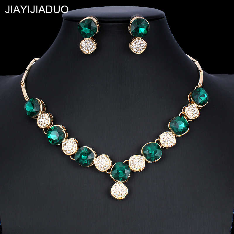 jiayijiaduo 2018 New wedding dress jewelry set for glamour women crystal jewelry necklace earrings set gold color girl gift
