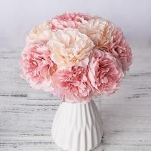 1 букет 5 голов искусственный шёлковый пион цветы высококачественные накладные цветы Гортензия для дома свадьба Вечеринка День Святого Валентина Декор