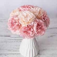 1 buket 5 Kafaları Yapay Ipek şakayık çiçekleri Yüksek Kaliteli Sahte Çiçekler Ortanca Ev Düğün için Sevgililer günü Dekor