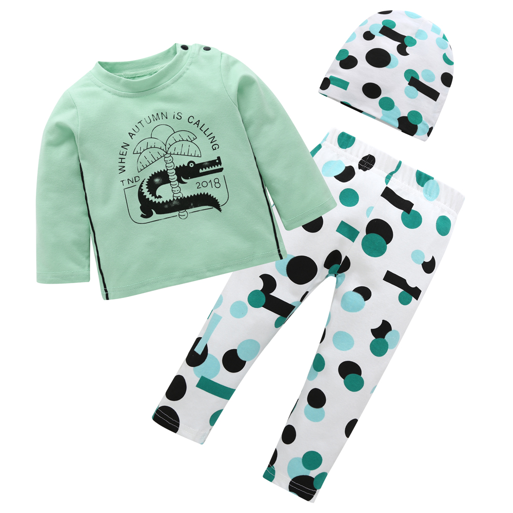 3PCS//Set Newborn Baby Kid Boy Long Sleeve Tops T-shirt+Pants+Hat Outfit Clothes