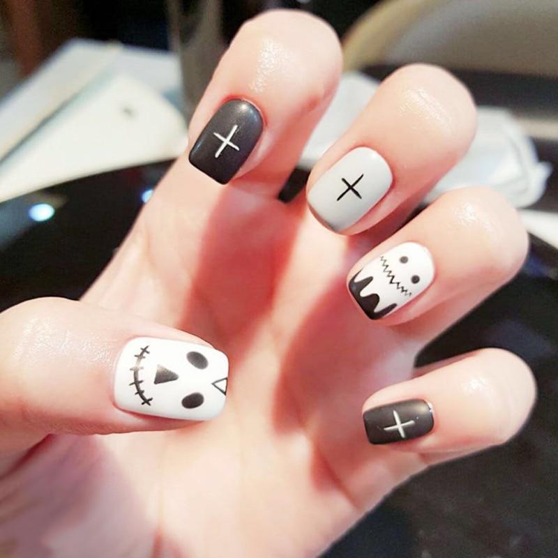 24pcs Black Matte False Nails Full Cover Artificial Cartoon Design Fake Nails Press On Square Nail Art Tips For Halloween Gift Aliexpress Com Imall Com