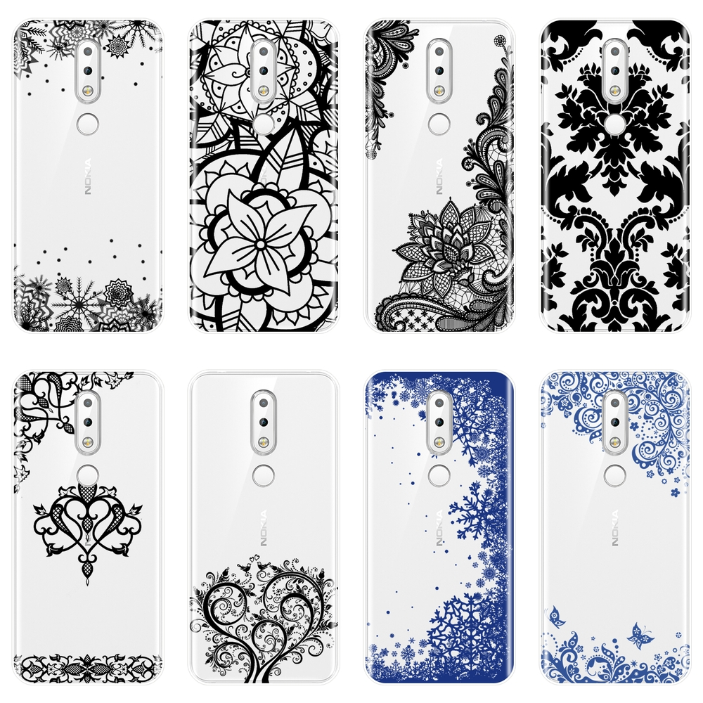 Soft Phone Case For <font><b>Nokia</b></font> 2.1 3.1 5.1 <font><b>6.1</b></font> 7.1 <font><b>Silicone</b></font> Aesthetic Lace Sexy Flower <font><b>Back</b></font> <font><b>Cover</b></font> For <font><b>Nokia</b></font> 7.1 <font><b>6.1</b></font> 5.1 3.1 2.1 <font><b>Plus</b></font> image
