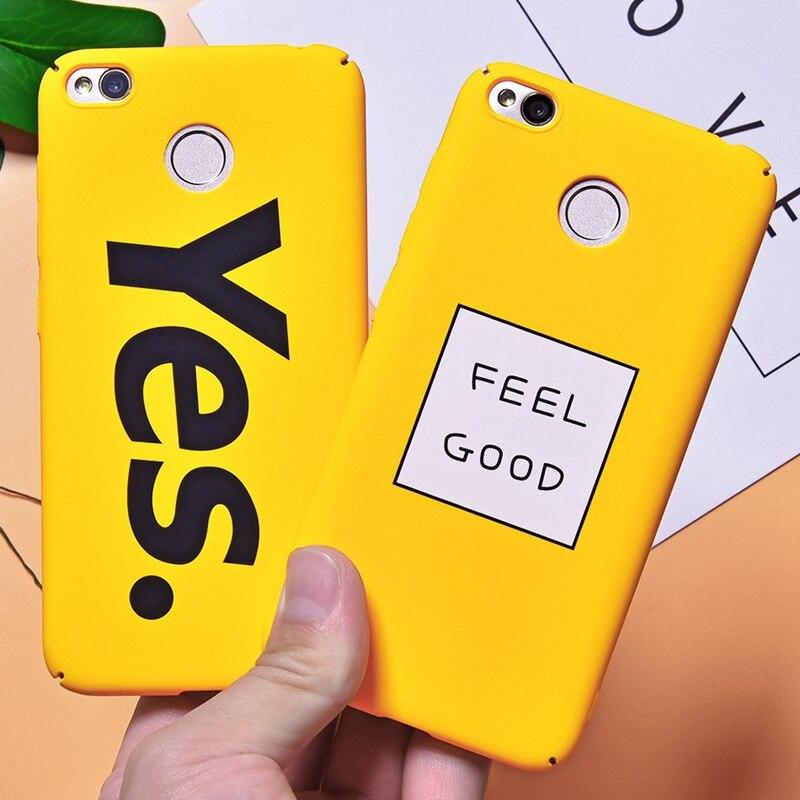 Yellow Cartoon Letter Case For Xiaomi Redmi 4X Patterned Case For Xiaomi Redmi 5 Plus Note 5 Pro Mi A1 5X Capa