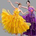 Espanha Brasil carnaval palco vestido de baile show cantor traje desgaste desempenho ds dancer festa roxo amarelo Moda sexy feminino