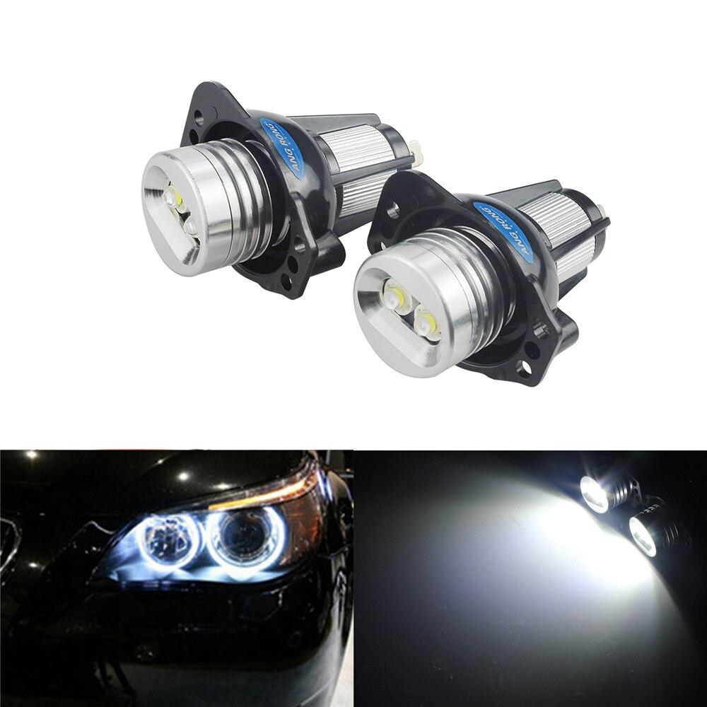 2x Angel Eye Halo Ring LED Light 6W Bulb Xenon White For BMW E90 E91 3 Series