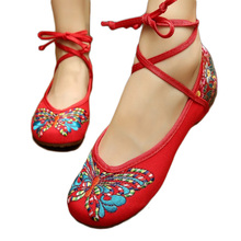 Chinois folk style floral brodé coton tissu chaussures avec traditionnel papillon SWX4110217