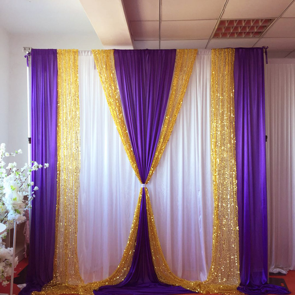 10ft X10ft Free Shipping White Curtain Purple Ice Silk