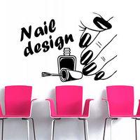 New Nail Salon Vinyl Wall Decal Nail Polish Beauty Design Varnish Polish Manicure Nail Wall Sticker Shop Window Glass Decoration